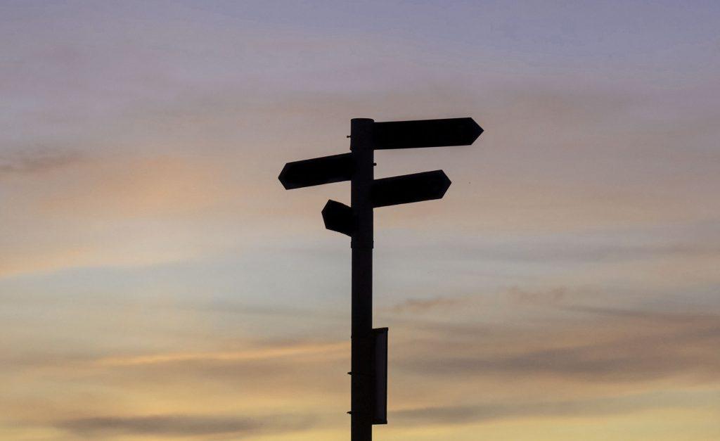 Veiskilt, illustrasjon for valg av retning
